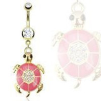 Turtle Pink Epoxy Paved Gem Dangle Navel Ring