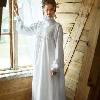 Victorian Winter - long cotton women's night gown, vintage inspired, victorian nighty, victorian nightgown, vintage nightgown, nightdress