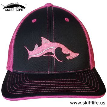 Pink/Silver Snook on Black Neon Pink Flexfit Fishing Hat by Skiff Life