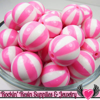 Pink BEACH BALL BEADS 20mm chunky bubblegum beads, 10 ct