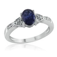 Sterling Silver Sapphire and Diamond Ring ( 1cttw Sizes 5-10)