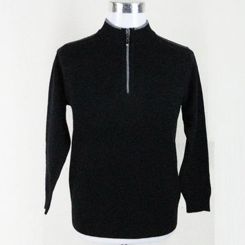 Winter Men Cashmere Tops Stylish Thicken Pullover Zippers Long Sleeve Wool Sweater [6544131907]