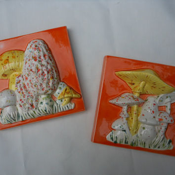 Mushroom Kitchen Decor 1970s Small Square Orange White Yellow Green Wall Hangings Plaster Cast Relief Plaque Raised Design Glazed Ceramic