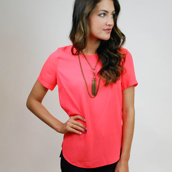 Caught In Candy Blouse - Electric Coral