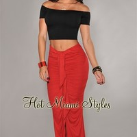 Red Faux Suede Ruffled Front Maxi Skirt