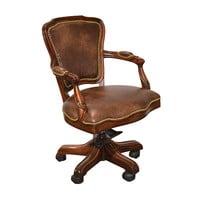 Walnut & Brown Leather Studded Office Chair
