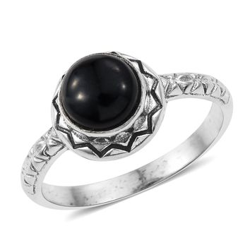Black Jade Sterling Silver Ring