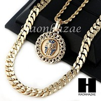 "MEN KING TUT ROPE CHAIN DIAMOND CUT 30"" CUBAN LINK CHAIN NECKLACE S016"