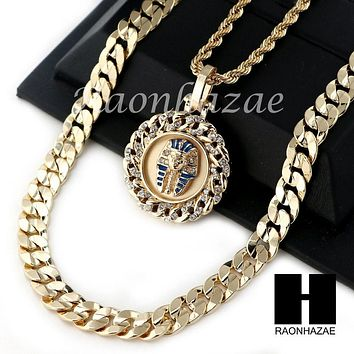 "MEN ICED OUT KING TUT ROPE CHAIN DIAMOND CUT 30"" CUBAN LINK CHAIN NECKLACE S016"
