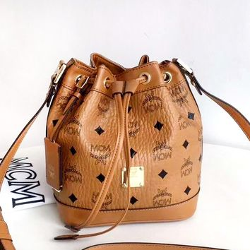 MCM Tide brand female bucket bag casual wild shoulder Messenger bag