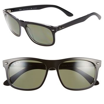 Women's Ray-Ban 56mm Polarized Sunglasses - Black/ Green Polar