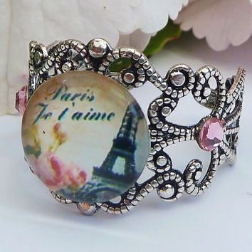 Filigree ring  in silver with eiffel tower, paris ring, france ring, cabochon ring
