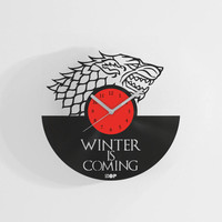 Winter is Coming wall clock from upcycled vinyl record (LP) | Hand-made gift for Game of Thrones fan, lover | Home wall decoration, present