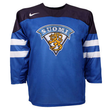 Team Finland IIHF Official Twill Replica Blue Hockey Jersey