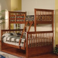 Walnut Finish Wood Twin Over Full Size Convertible Bunk Bed (Bunkbed)