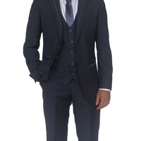 Mens Designer Blue Grey Three Piece Suit (Mack)
