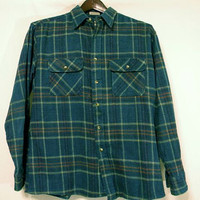 Plaid Green Flannel Vintage Overshirt Jacket by FoolishMagpieFinds