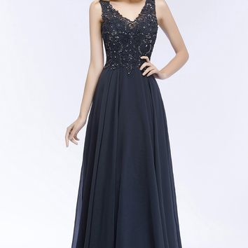 Sexy Double V-neck Evening Dress Long Navy Blue With Applique Evening Dresses Prom Formal Gown