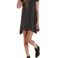 Charcoal Jersey Knit Trapeze T-Shirt Dress by Charlotte Russe