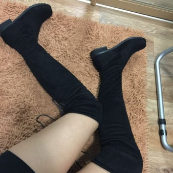 2016 women thigh high boots over the knee motorcycle boots winter and autumn woman shoes plus size 4-11 botas mujer femininas