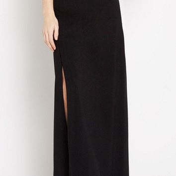 Black Take Flight Thigh-Slit Maxi Skirt