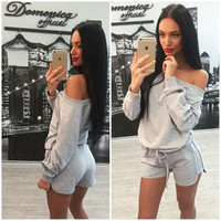 Women's Fashion Hot Sale Stylish Shorts Bottom & Top Sportswear Set [4956105796]