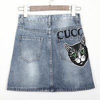 GUCCI Popular Women Casual Delicate Cat Embroidery Letter Print Denim Shorts Short Skirt I12755-1