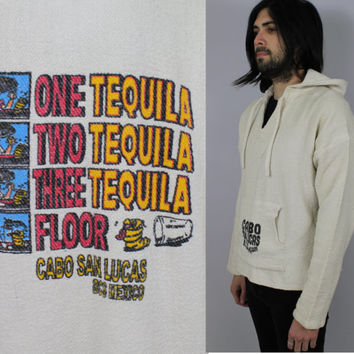 "SALE - 80s/90s - Cabo San Lucas Mexico - Souvenir Novelty - Funny ""3 Tequila Floor"" Print - Baja Drug Rug - Surfer Hoodie Pullover - Unisex"