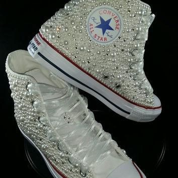 Bridal Converse- Wedding Converse- Bling & Pearls Custom Converse Sneakers- Personaliz