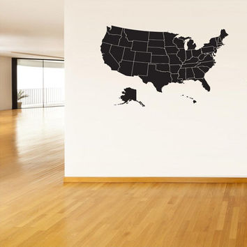 Wall Art Vinyl Sticker Decals Mural United States Map America Kids Room Patriotic States 246