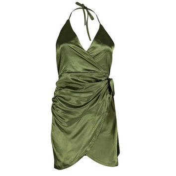 Sexy dresses  evening party Womens Satin Strappy Sexy Dress Asymmetric V Neck Backless Sleeveless Mini Dress Green Pink #23 SM6