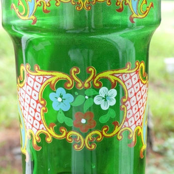 Vintage Emeral Green Decanter, Made in Italy, Hand Painted, JAY Glassware, Cottage Chic, Liquor Bottle, Wine Bottle