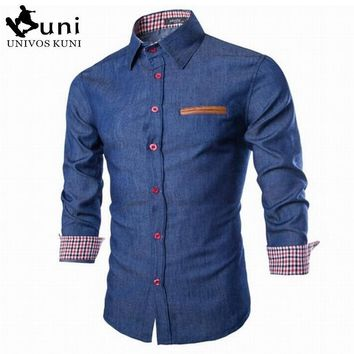2016 New Brand Men's Denim Shirts Long Sleeve Turn-down Collar Fashion Slim Fit Style Dark Jeans Men Shirt European Size DHY3151