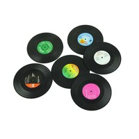 6Pcs/Set Spinning Retro Vinyl Record Drinks Coasters / Vinyl Coaster Cup Mat Home Decor Creative CD Record Coffee Drink Placemat
