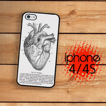 iPhone 4S Case Slim Profile Vintage Medical Anatomical Heart Diagram  /Hard Case For iPhone 4 and iPhone 4S Gothic Styling