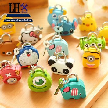 LHX DMMS66 Cartoon Padlock for Luggage Sport Hand Bags Kitty Doraemon Chick Minions Panda