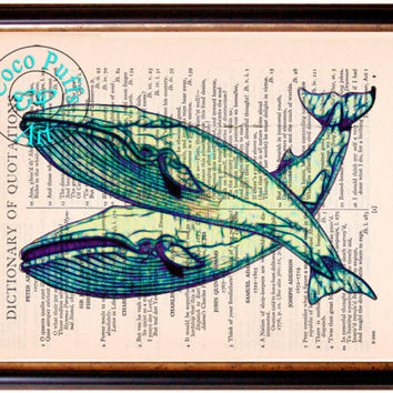 Green Yellow Duo Blue Whales Art Beautifully Upcycled Vintage Dictionary Page Book Art Print, Sea Life Print