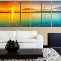 LARGE Art Sea and Colorful Sunset Extra Large Wall Art Canvas Print,  Large Seascape Ocean and Beach Canvas Prints