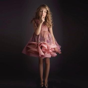Stunning Pearls Flower Girl Dresses For Weddings A-Line Tiered Backless Pageant Gowns Appliqued Knee Length Cute Communion Dress