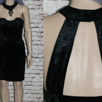 90s 90s Choker Dress Bodycon Crushed Velvet Black Cocktail Prom Evening Grunge Cyber Goth  Hipster Witch Whitchy Cut Out Back Gothic S M