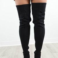 Everglades Black Thigh High Stretchy Peep Toe Boots