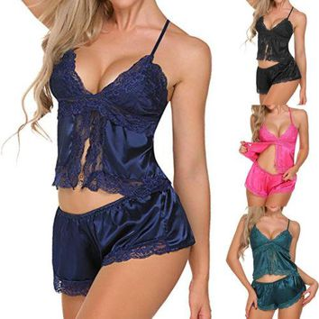 2pcs Women Sexy Satin Lace Sleepwear Lingerie Nightdress Pajamas Set