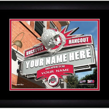 NCAA Ohio State Buckeyes Sports Hang Out Print Personalized and Framed