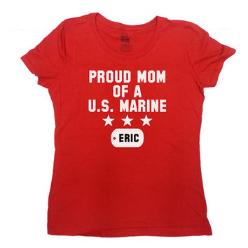 Proud Mom Of A U.S. Marine Custom Dog Tag (Any Name) Shirt Marine Mom T-Shirt Gift For Mom Christmas Birthday Mothers Day Ladies Tee - SA211