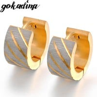 Gokadima Gold color Men Earrings for ear cuff Punk, Stainless Steel Earrings Unisex pendientes