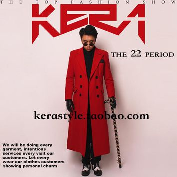 outwear coat for singer dancer ds dj jazz performance nightclub bar groom men  bar fashion prom Red cashmere long jacket
