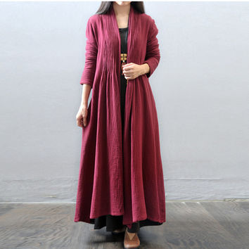 Women autumn and winter cotton  loose long coat