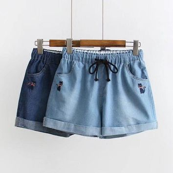 Summer New Fashion Jeans Shorts Elastic Waist Cartoon Cat Embroidered Cute Shorts Preppy Style Women Casual Stretch Denim Shorts