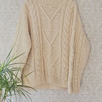 Vintage 1980s Cableknit + Mock Neck Sweater