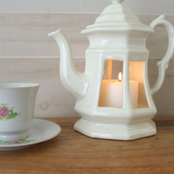 White Ceramic Teapot Lantern, Handmade Ceramic Decorative Teapot, Unique Patio Lantern